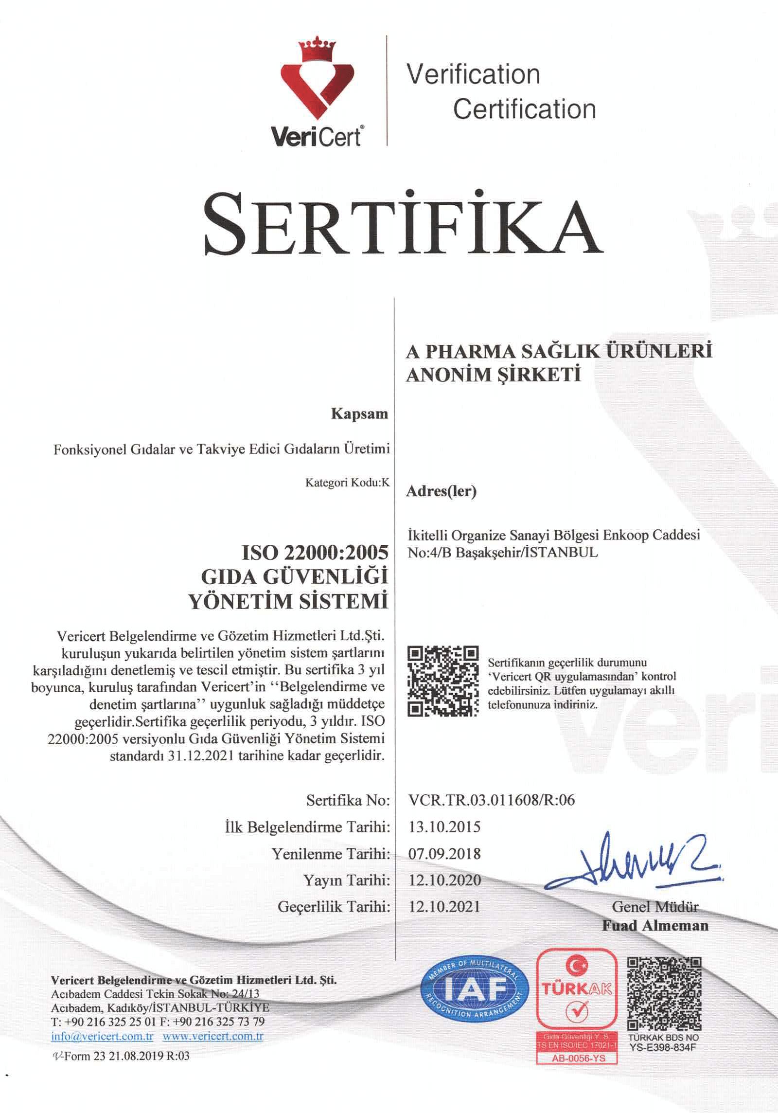 ISO 22000:2005 Gıda Güvenliği Yönetim Sistemi